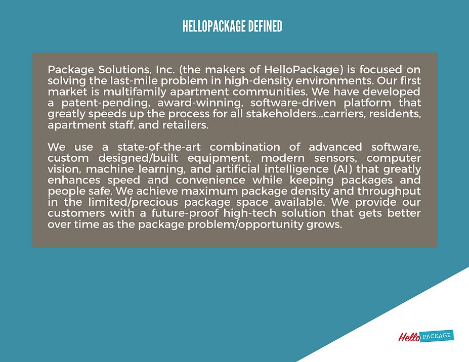 HelloPackage Investor - (pg 28), Present
