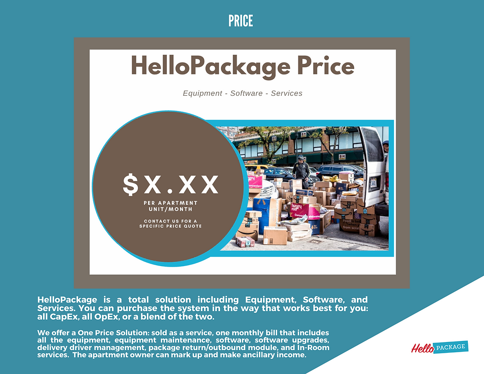 HelloPackage - One Monthly Price slide,