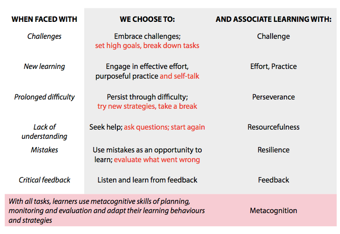 Choices Chart for Learning Mindset