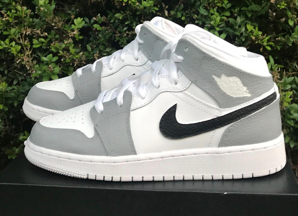 Custom Grey and Black Nike Jordan 1 Mid's