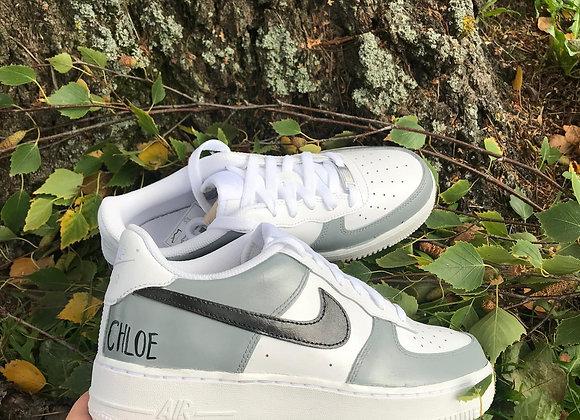 Custom Grey and Black Nike Air Force 1's