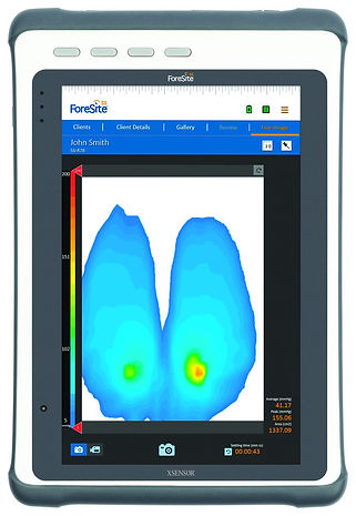 Tablet running XSENSOR's ForeSite SS Seat System shows the pressure points and distribution of patient's that utilize it.