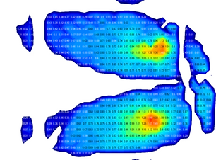 3D data visualization of a person lying down on a surface showing their pressure distribution against a black background.