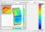 XSENSOR's powerful Pro V8 software displays pressure data in a color gradient captured from a brake pad pressure sensor.
