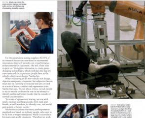 Automotive seating components being tested in a test lab setting.