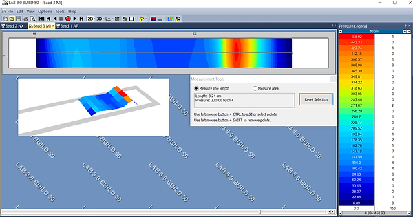 XSENSOR's powerful Pro V8 software displays pressure data captured from a nip roll pressure imaging sensor.