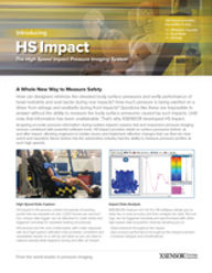 Front cover of XSENSOR's High-Speed Impact System brochure for Intelligent Dynamic Sensing for impact measurement & testing.