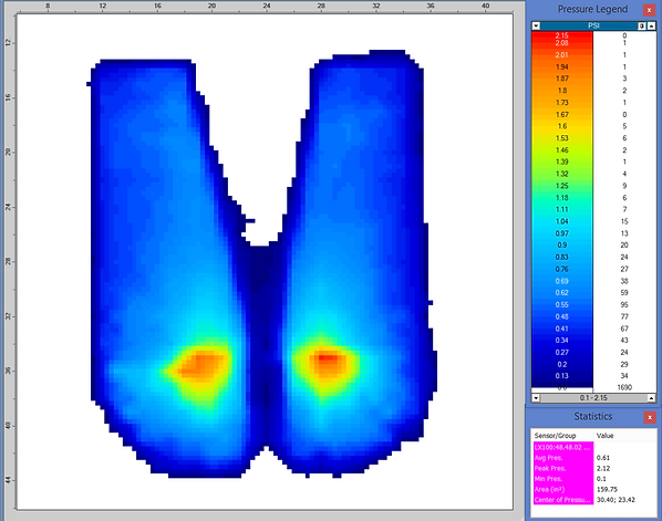 Pressure data is visualized showing pressure points and distribution from a human body form indenter onto a pressure sensor.