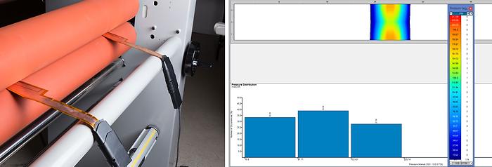 Two nip roll pressure sensors measure pressure between nip rollers. Pressure distribution data is shown of the nip roll.