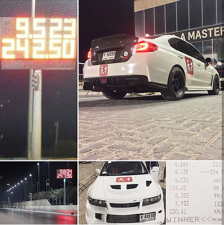 A photo of two Tensai cars, the Subaru is a world record holder in Drag Racing, and the secod is the first Lancer Evo to break the 9 second barrier in the UAE.