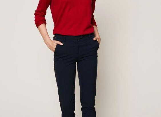 Black Trouser With Cherry Red Top Stunning Womens Outfit
