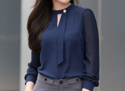 Stylish Navy Blue Top With Gorgeous Gray Trouser