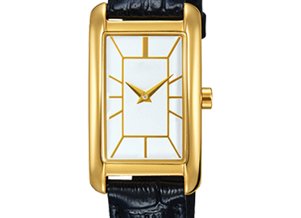 Square Golden Dial Leather Belt Women's Watch
