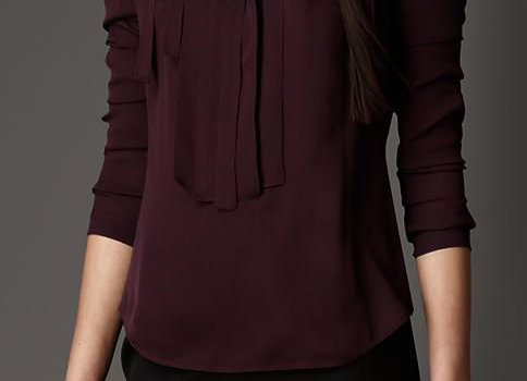 Pleat and Bow Silk Tunic Shirt With Classic Black Trouser
