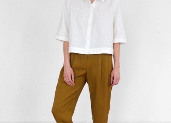 Casual White Top With dijon color Trouser For Womens