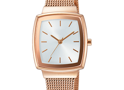 Rose Gold & Golden Square Dial Women's Watch