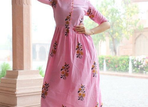 Remarkable Designer Pink Cotton Kurti with Plazzo