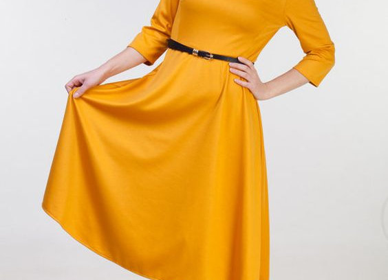 Mustard Short Sleeve Fit & Flare Dress