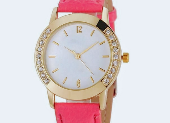 Stunning Golden Round Dial Women's Leather Watch