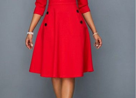 Pocket Button Embellished Red A Line Dress