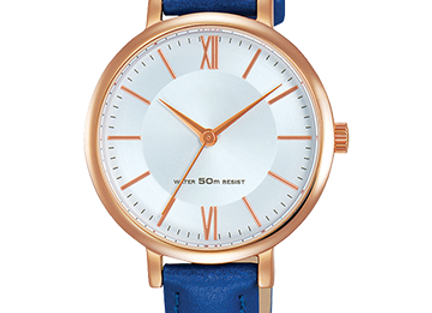 Amazing Golden Round Dial Blue Leather Watch