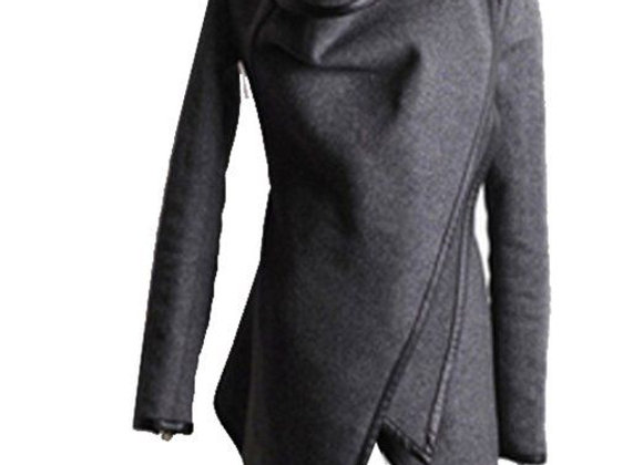 Women Slim Fit Woolen Coat Trench Long Jacket Outwear Overcoat