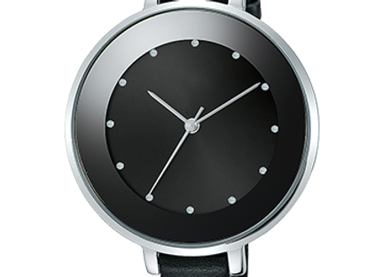 Full Black Leather Watch With Steel Round Dial