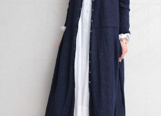 Looks Street Style Modest Fashion Navy Coat Mode Simple