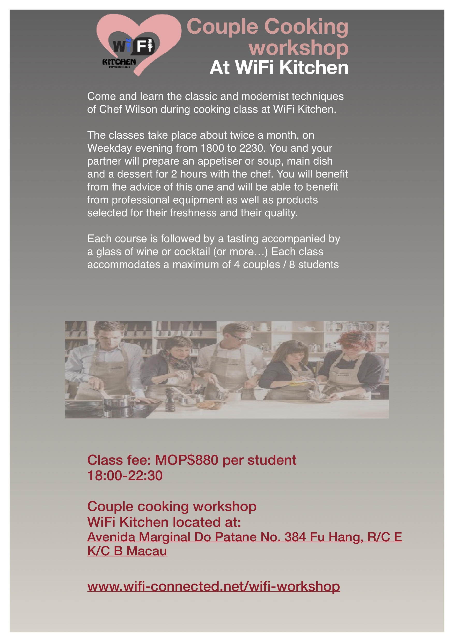 couple cooking class flyer