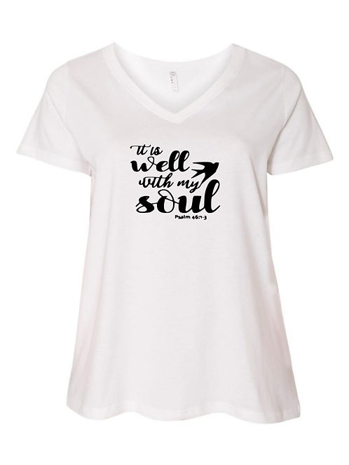 Well With My Soul Ladies V-Neck Plus