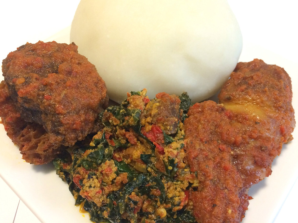 AUTHENTIC POUNDED YAM SERVED WITH EFO ELEGUSI AND BEEF STEW