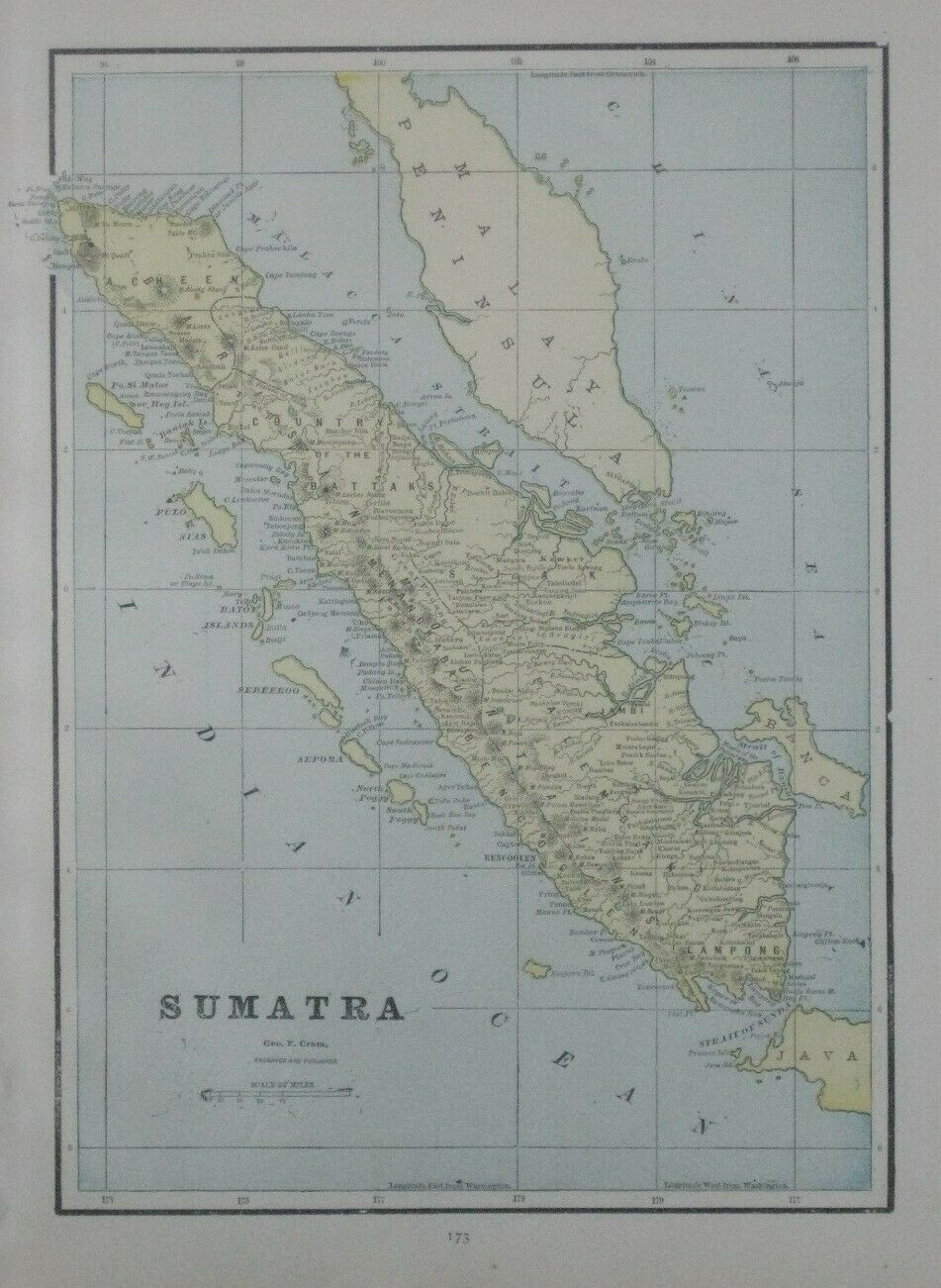 Original 1893 antique color lithographed map of the island of Sumatra, printed more than 125 years ago.