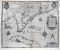 Antique map of Florida. Original 1591 De Bry / Le Moyne Map FLORIDA SOUTHEAST UNITED STATES CUBA BAHAMAS
