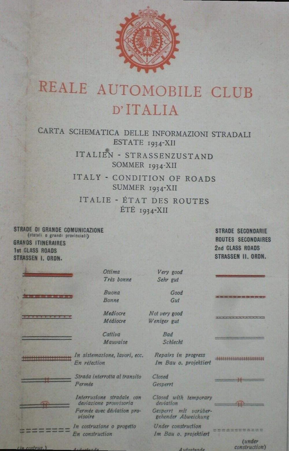 Vintage 1934 RACI Road Map ITALY Roma Firenze Napoli Venezia Genoa Trieste Fiume