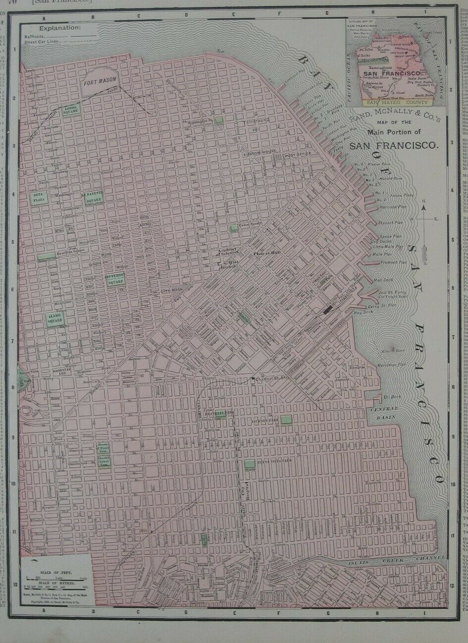 Original 1895 antique color lithographed street plan of San Francisco, printed more than 120 years ago.
