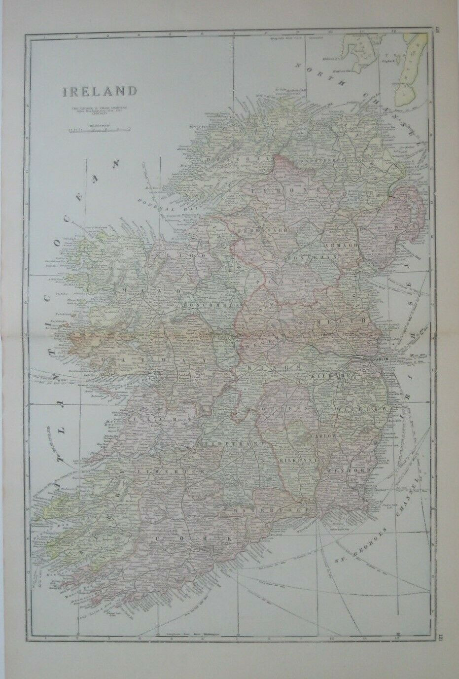 Handsome original antique color lithographed map of Ireland, published in 1921 — a momentous year in Irish history.
