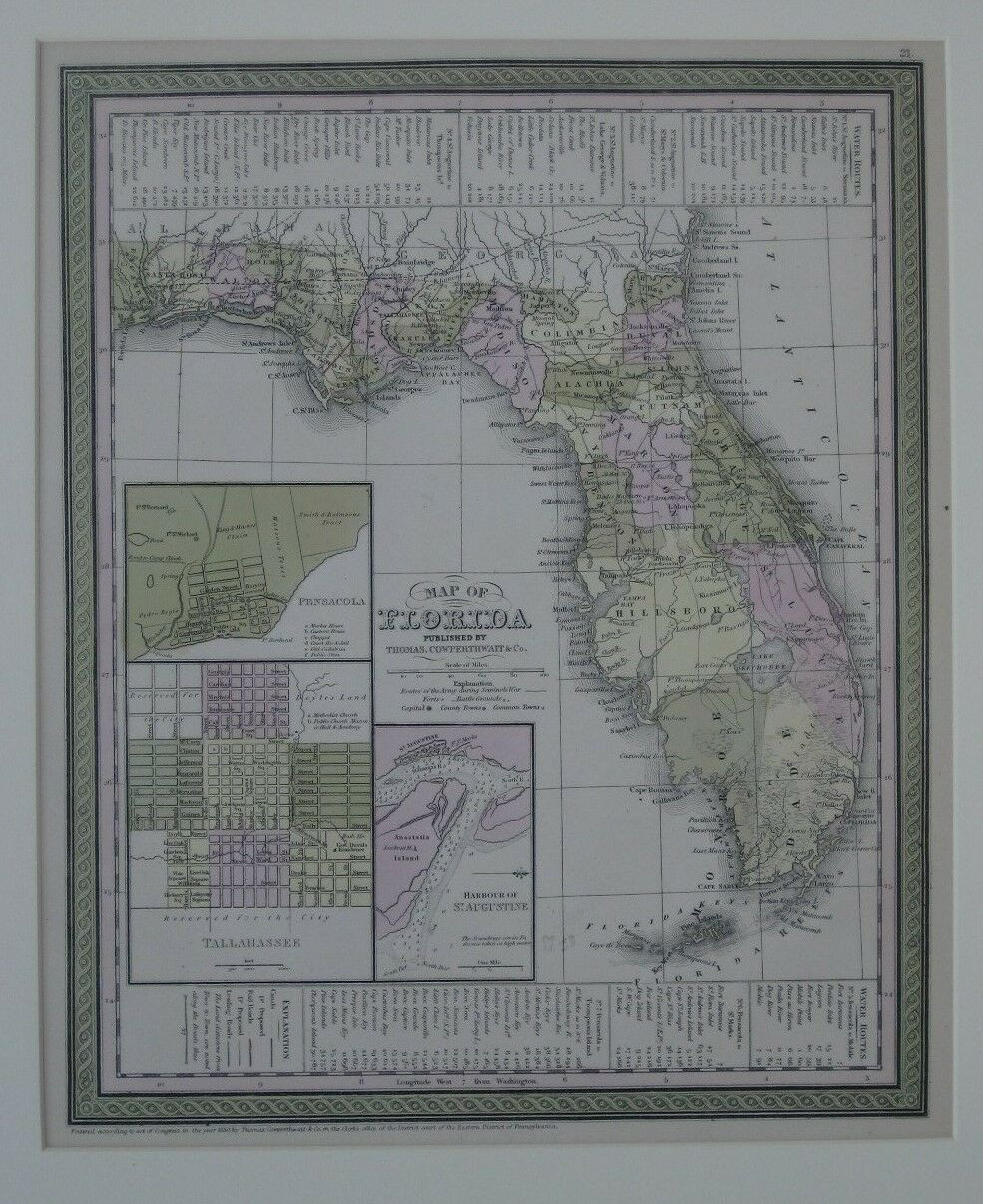 1850 antique map of Florida, in original hand color by county, with decorative ribbon border, printed more than 165 years ago.