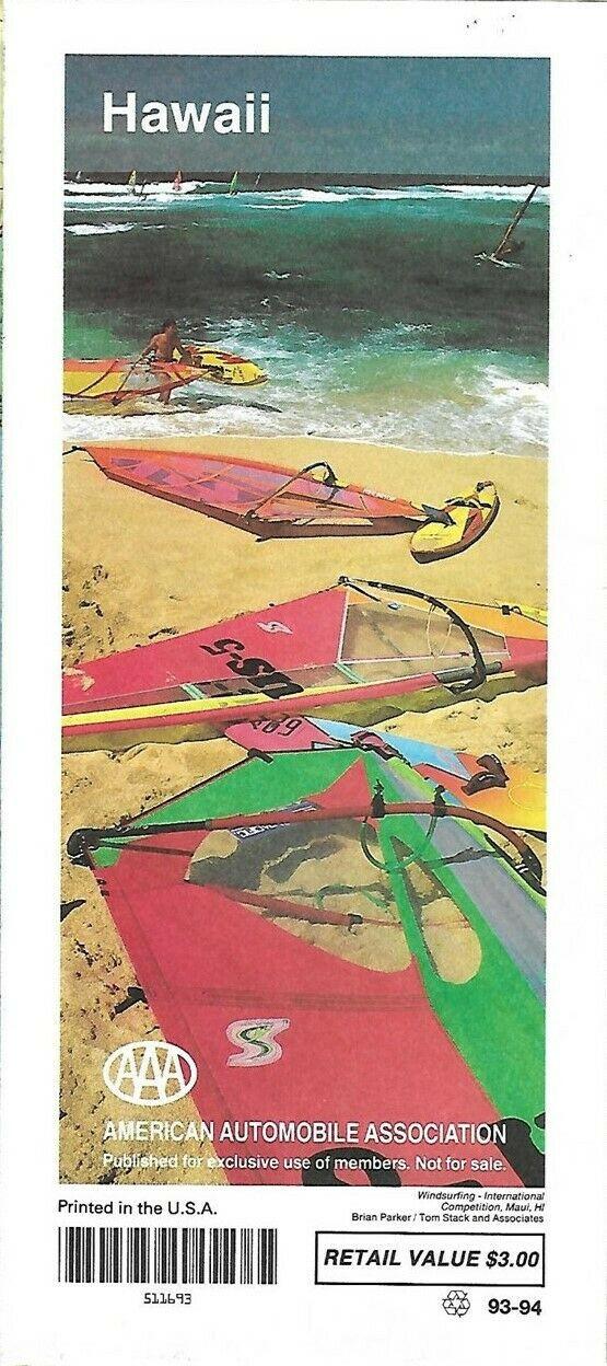1993 AAA Road Map HAWAII Honolulu Oahu Hilo Lanai Maui Windsurfing International