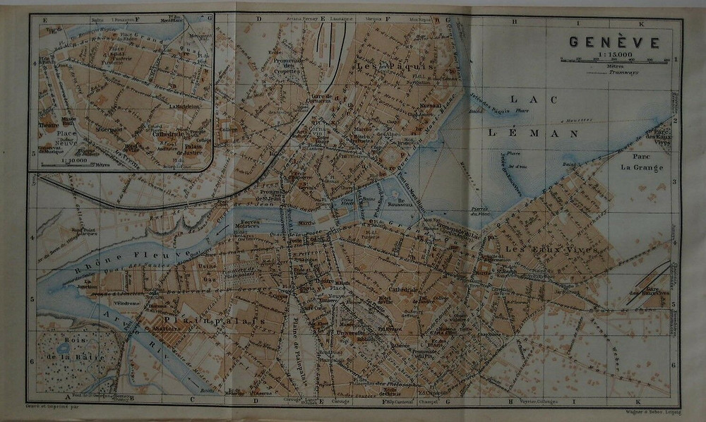 Genuine original color lithographed 1920 fold-out map of Geneva, Switzerland, printed more than 97 years ago.