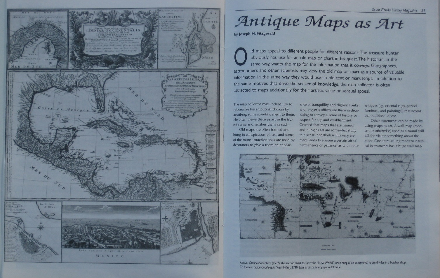 Two pages of an article on antique maps written by Dr. Joseph Fitzgerald and published in the Fall 1992 issue of South Florida History Magazine.  We happen to selling the same map!
