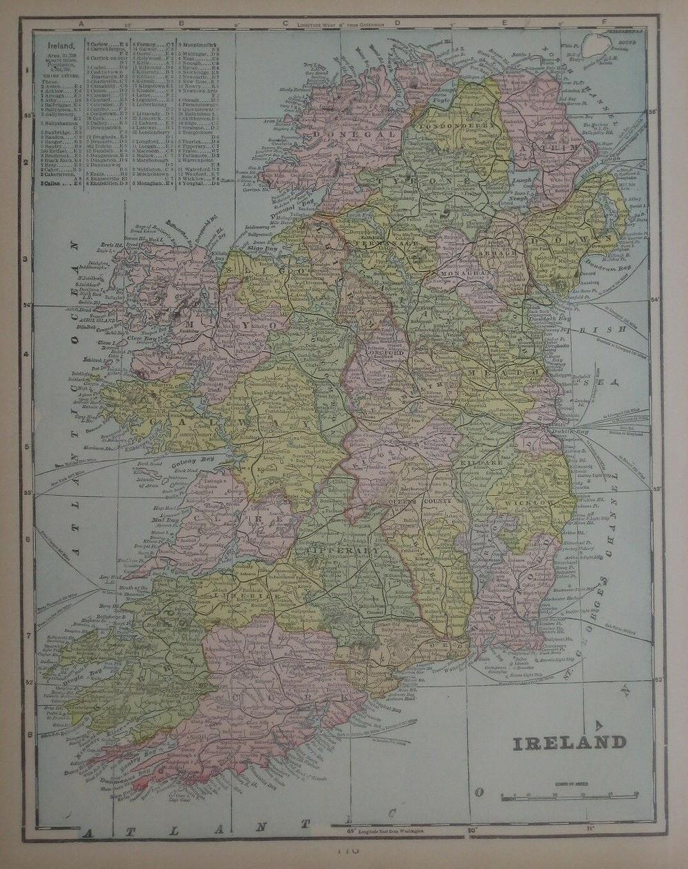 Original 1900 map of Ireland, the third-largest island in Europe