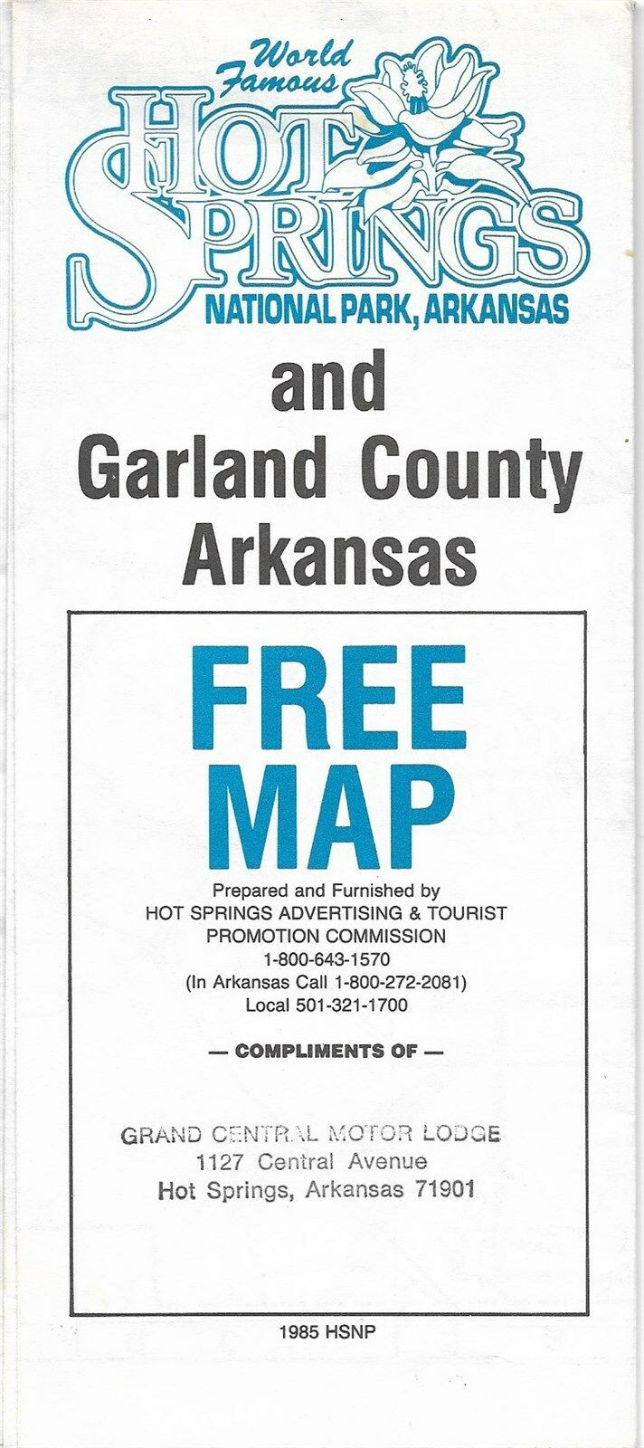 Fold-out 1985 road map and city directory of Hot Springs National Park and Garland County, printed more than 30 years ago.