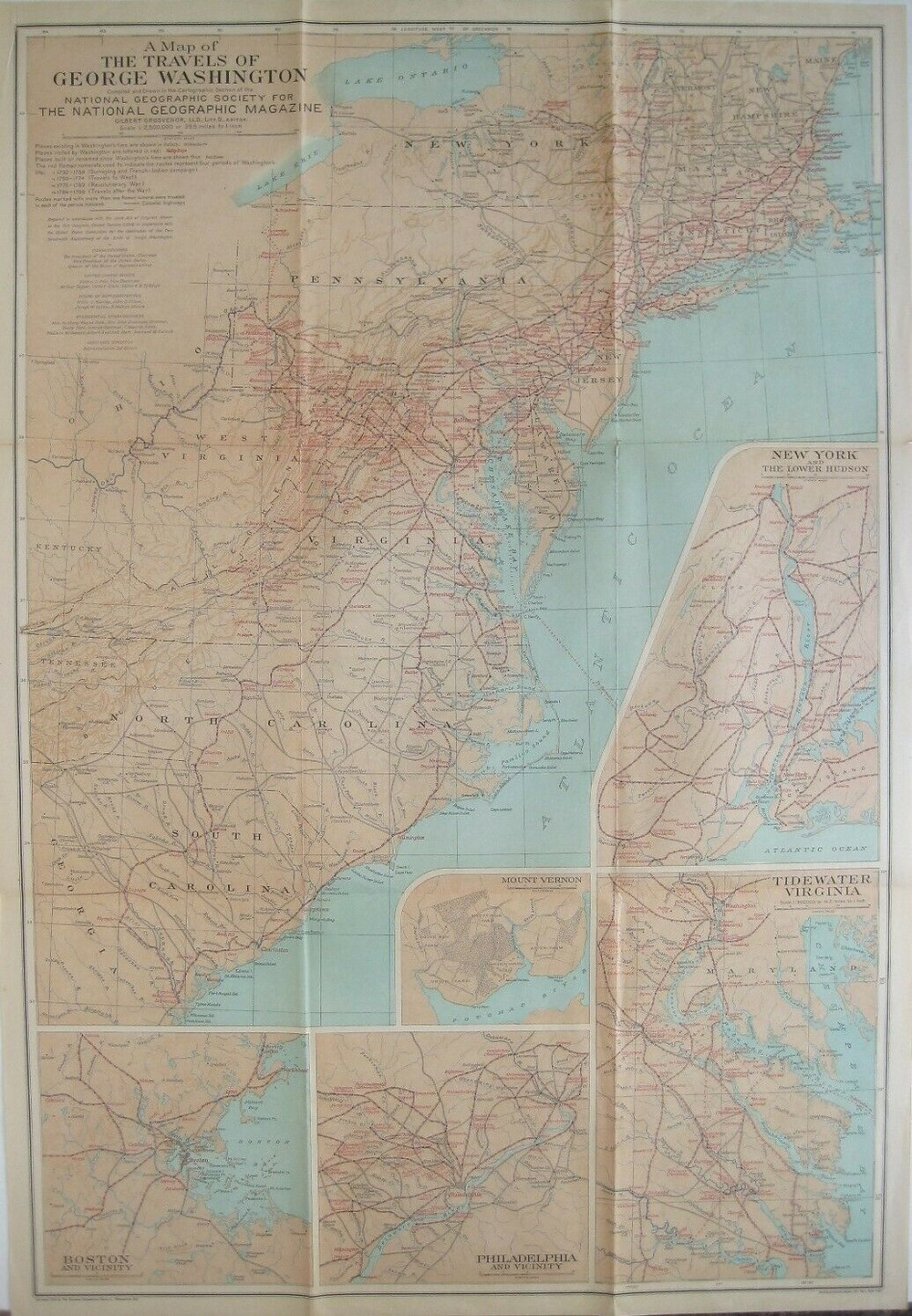 Vintage fold-out 1932 color lithographed map showing the travels of George Washington, printed more than 88 years ago.