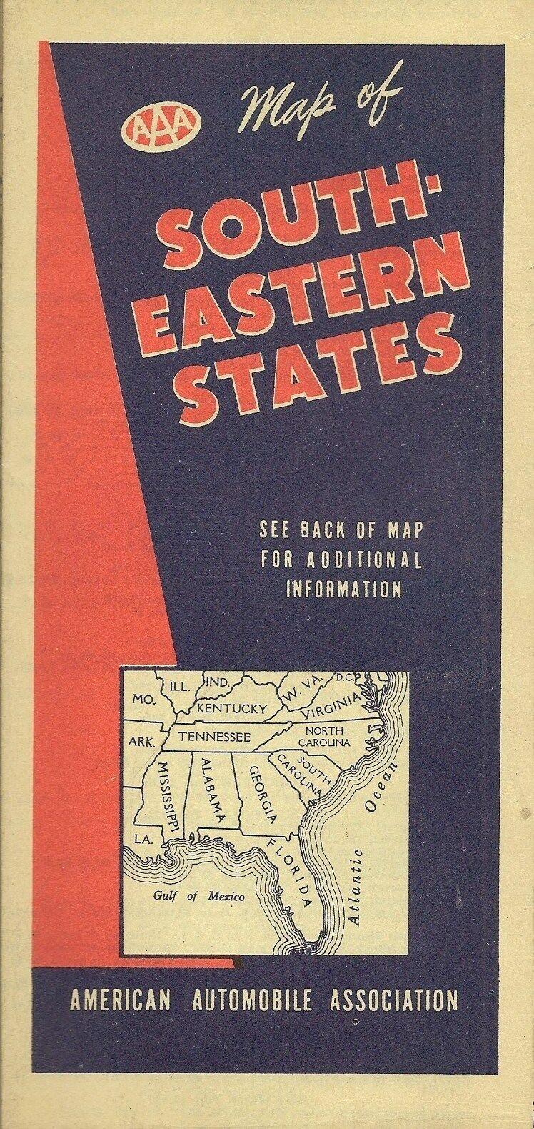 1944 Road Map SOUTHEASTERN UNITED STATES Florida Virginia Kentucky Georgia AAA