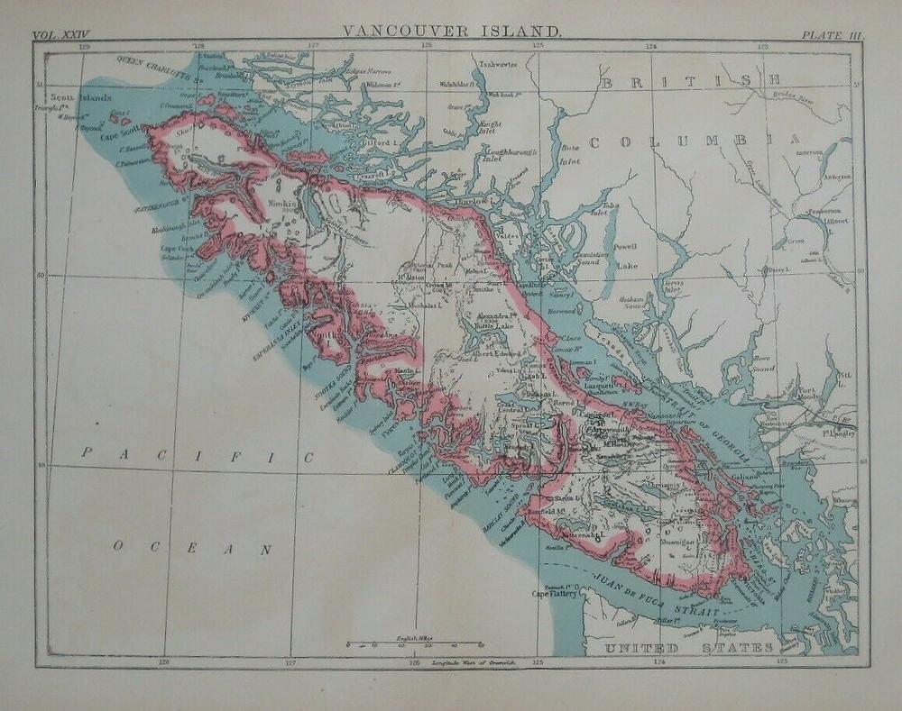Original 1888 map of Vancouver Island, British Columbia, Canada