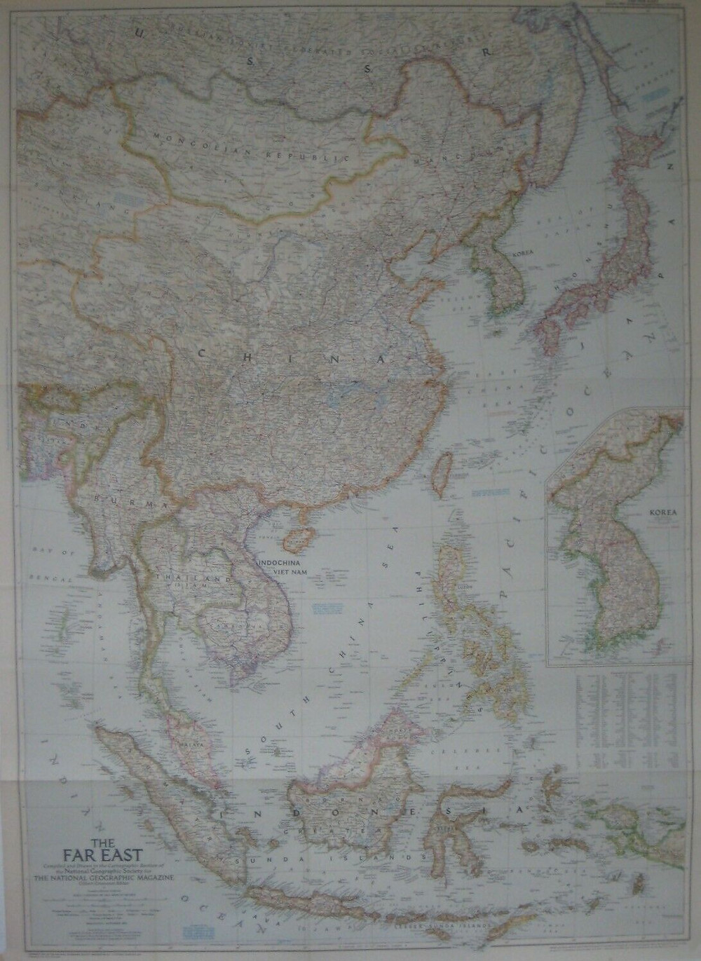 Large-format, highly detailed fold-out color lithographed map of the Far East, with an inset of Korea showing the battle line as of June 1, 1952.