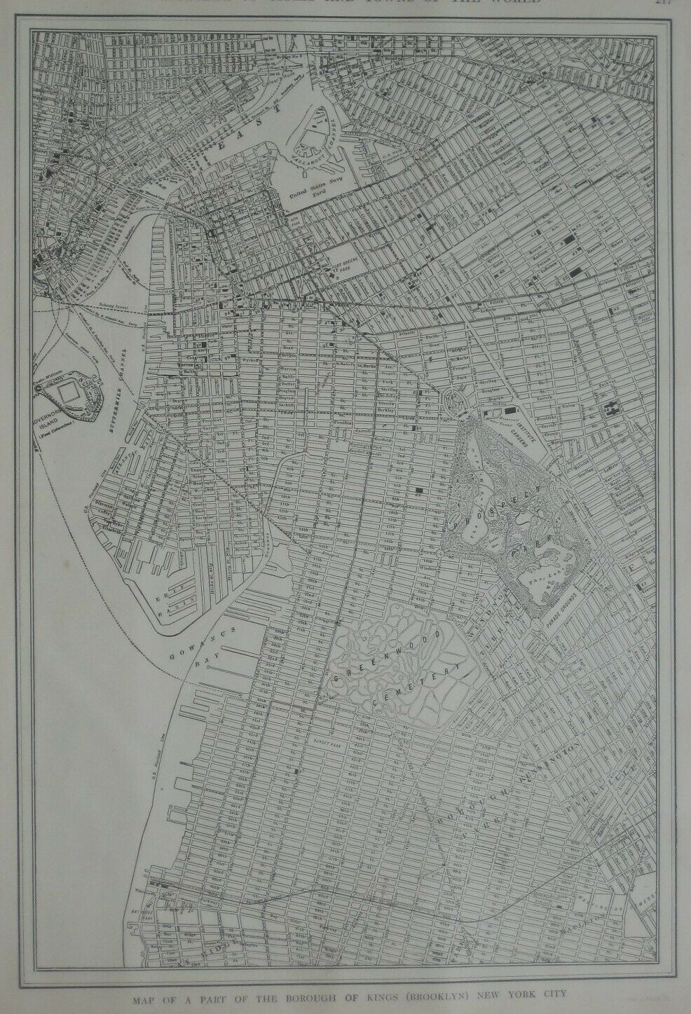 Original 1918 Map BROOKLYN New York City Streetcar Ferry Railroad Lines Bridges