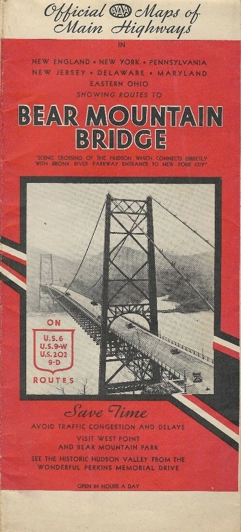 Vintage 1936 BEAR MOUNTAIN BRIDGE Road Map New York Northeast West Point AAA