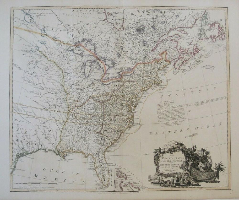 Original 1796 William Faden Map US State of Franklin East & West Florida Indians