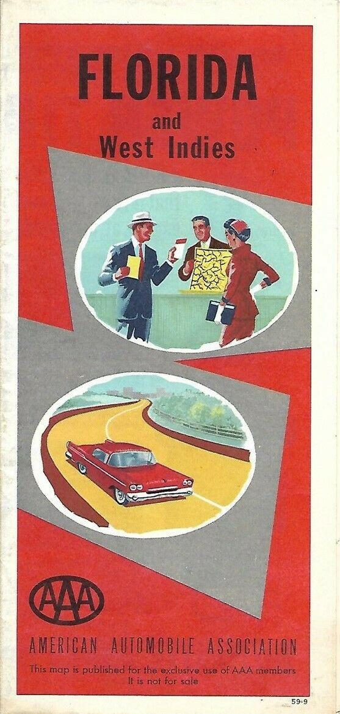 1959 Road Map FLORIDA Miami Beach Tampa Jacksonville Tallahassee Daytona AAA